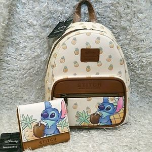 NWT Loungefly Stitch Pineapple min backpack set